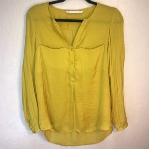 Zara Trafaluc long sleeve yellow blouse